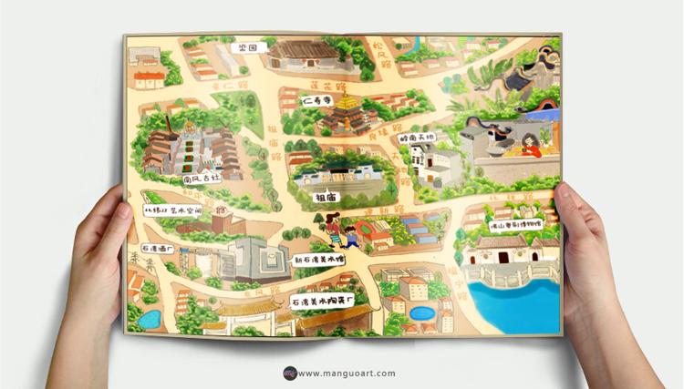 曼果墙绘>佛山博物馆手绘导览图